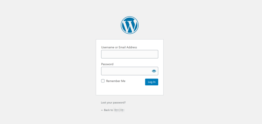 WordPress' default login page
