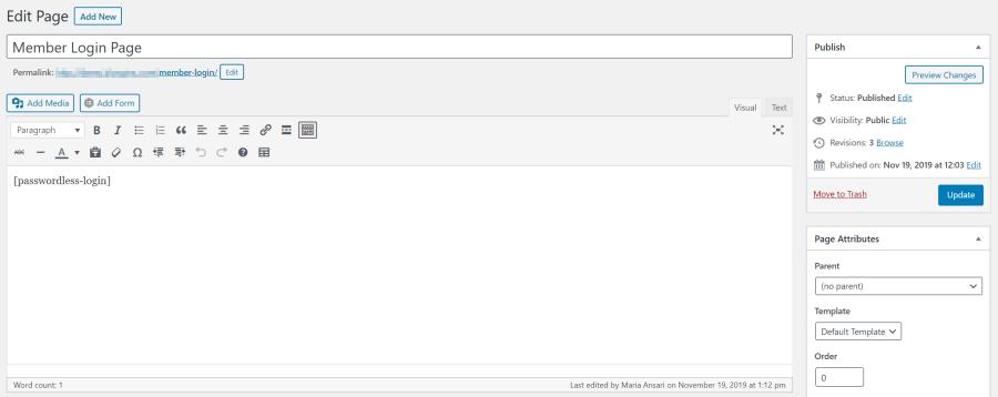 WordPress passwordless login shortcode