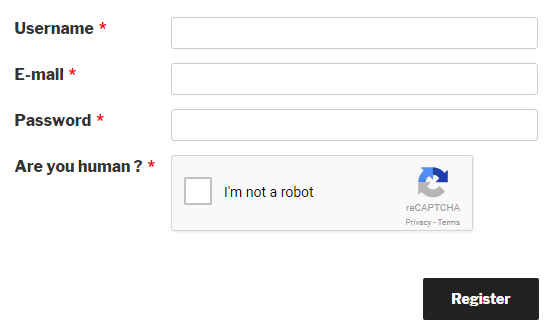 Preview of reCAPTCHA field