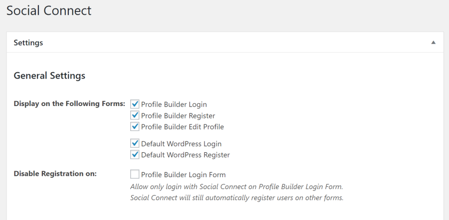 Settings screen for Social Connect add-on