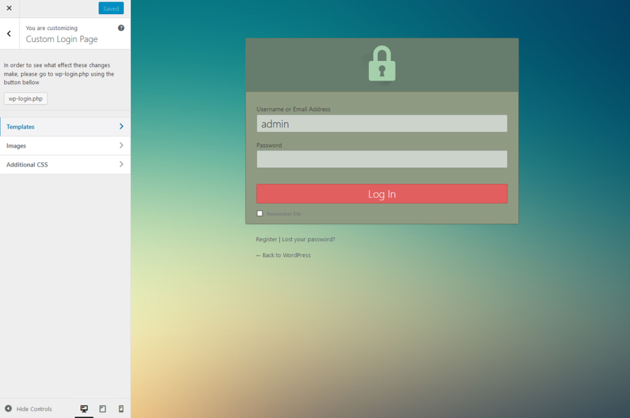 User login page with template