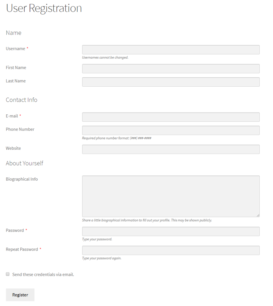 Preview of the user registration page on the front-end