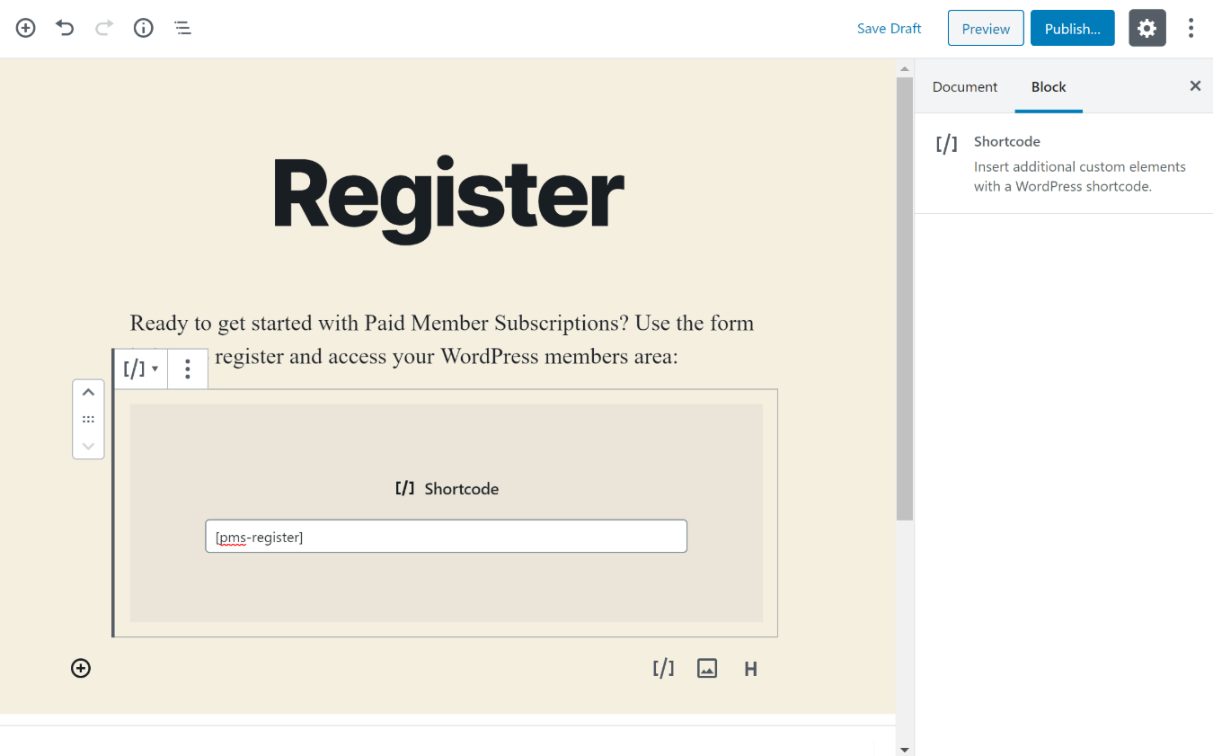 Create members area registration page