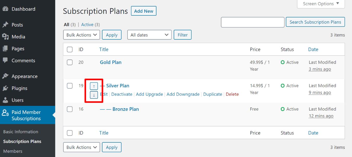 Change order of plans