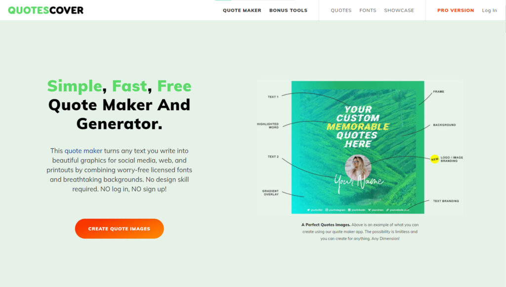 Membership Website Example: Quotes Cover - quote maker and generator website