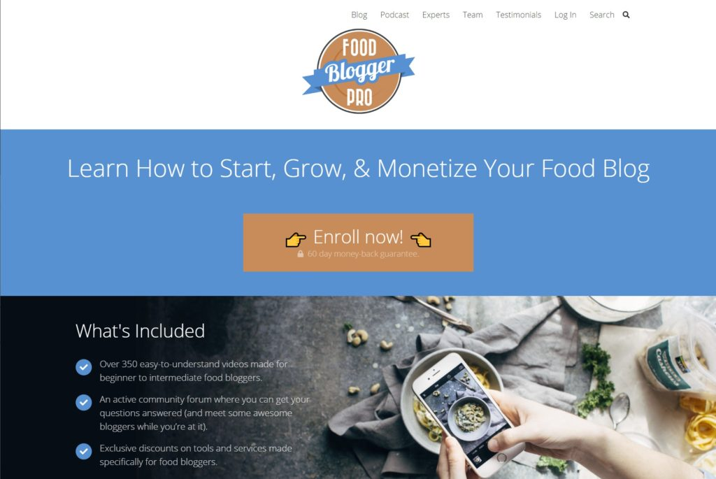Food Blogger Pro is one of the successful membership websites