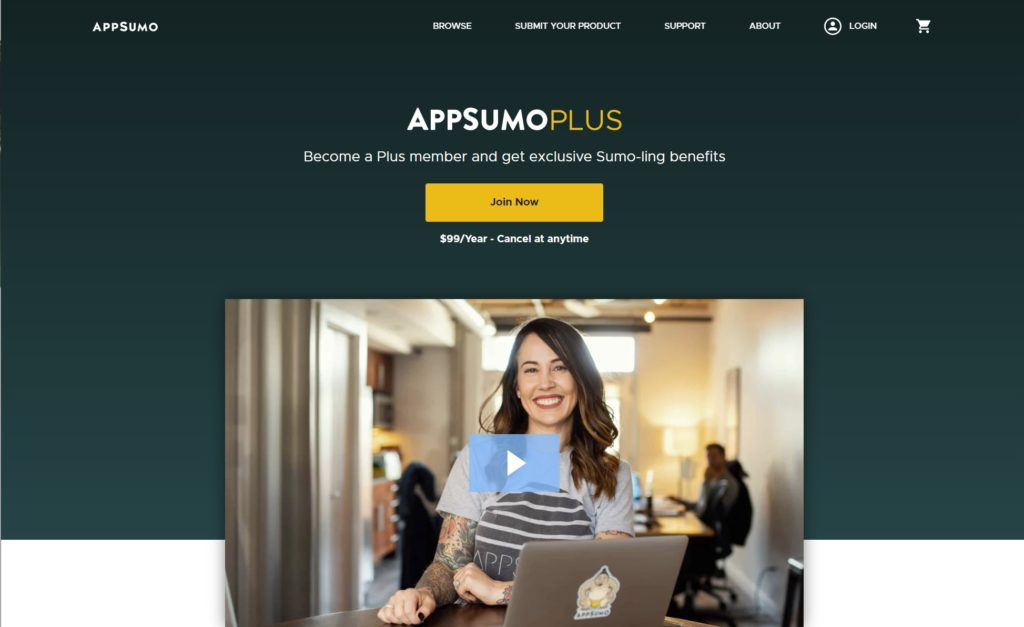 AppSumo Plus is a good example of eCommerce membership websites