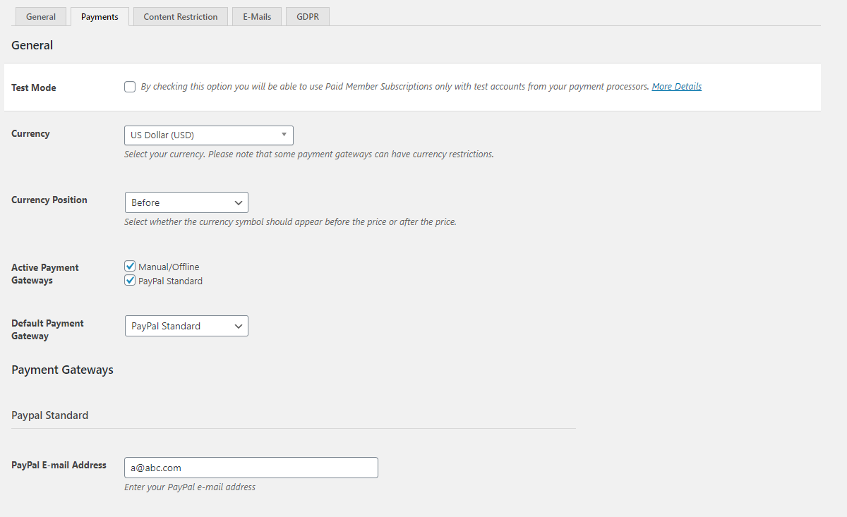 Payment options in Paid Member Subscriptions
