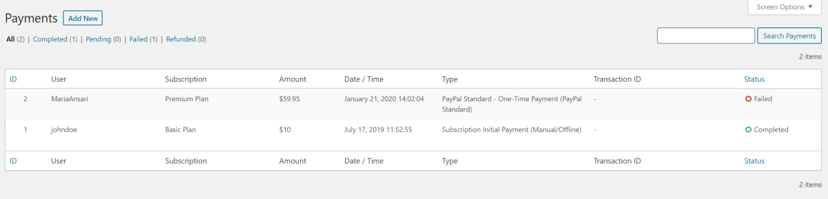 View all subscription payments