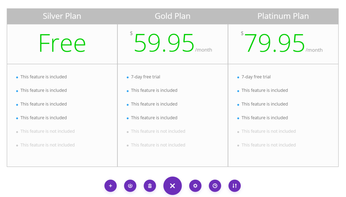 Preview of pricing table