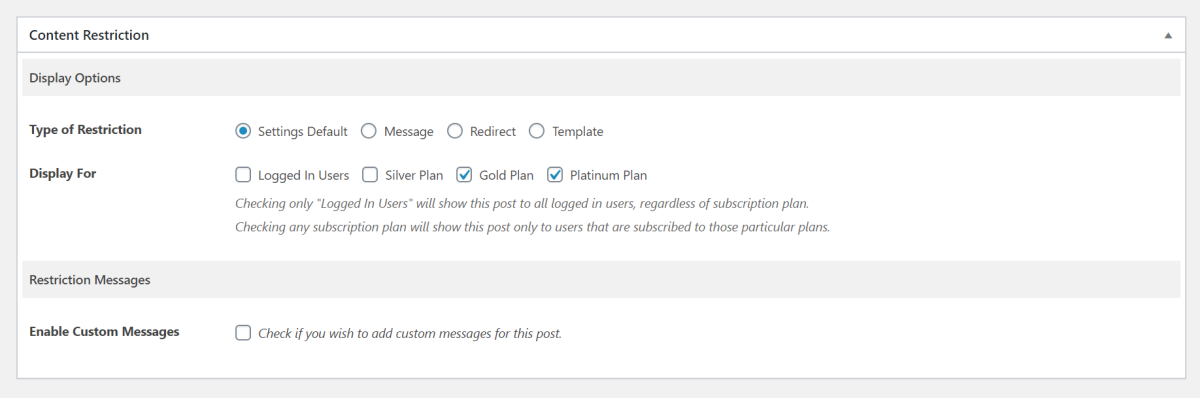 Restrict access options in Paid Member Subscriptions