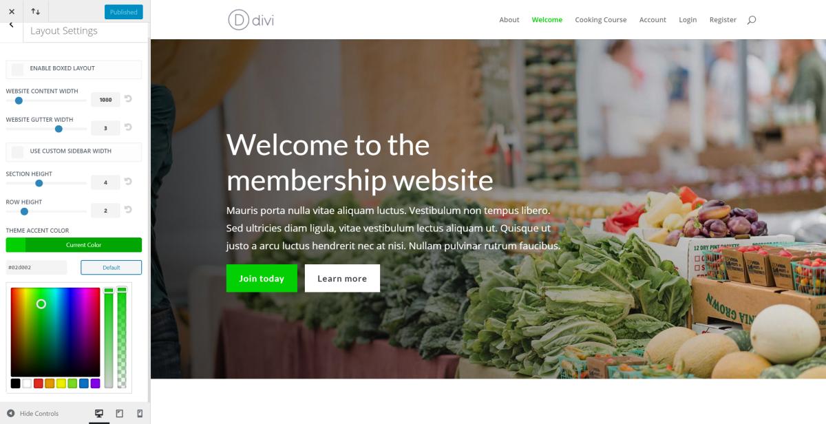 Divi membership site theme accent color