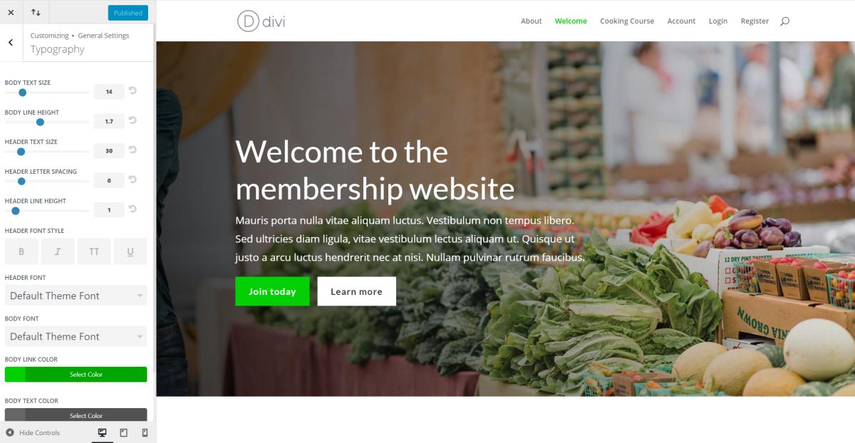 Divi membership site typography settings