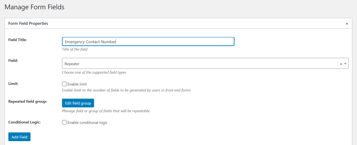 Add repeater field to custom WordPress registration form