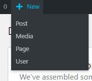 Create new user for a WordPress website via the admin bar