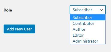 WordPress choose new user role