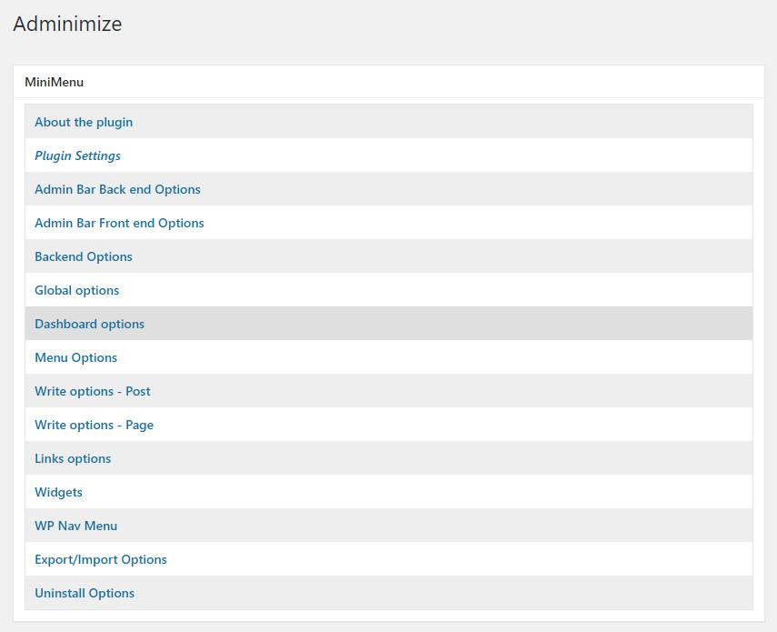 WordPress plugin Adminimize - options