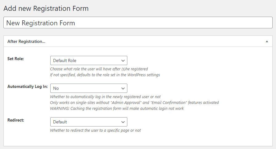 WordPress Profile Builder plugin front-end registration form