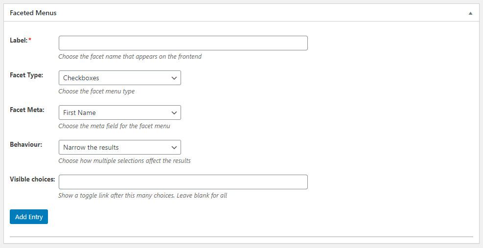 WordPress Profile Builder Pro - Faceted Menus