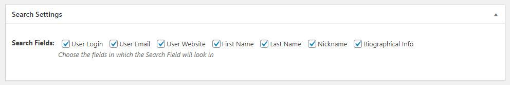 WordPress User Management Plugins - Search Settings