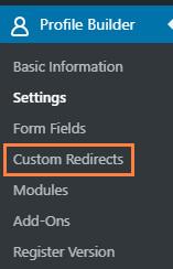 WordPress Profile Builder plugin custom redirects