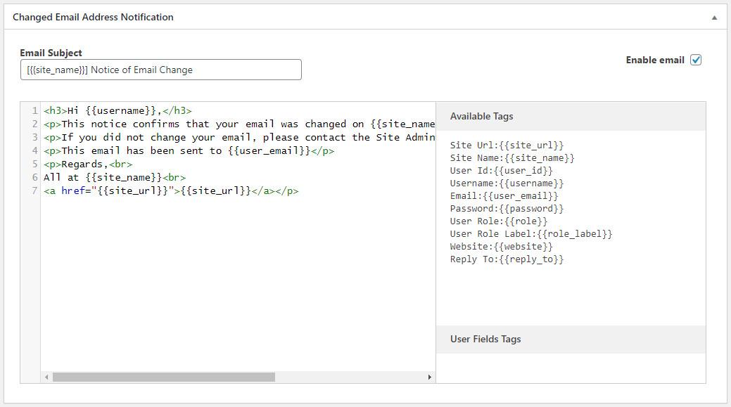 Customize WordPress emails using Profile Builder Pro plugin - change of email address notification