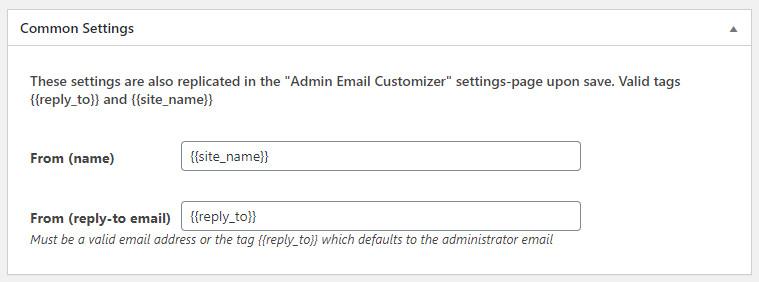 WordPress Profile Builder plugin email common settings