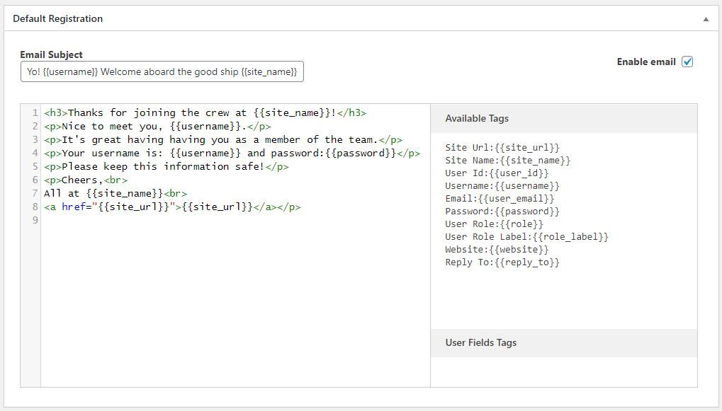 Customize WordPress emails using Profile Builder Pro plugin
