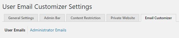 WordPress Profile Builder plugin user email customizer settings