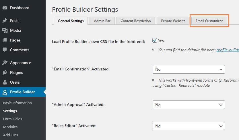 Customize WordPress emails using WordPress Profile Builder Pro plugin settings