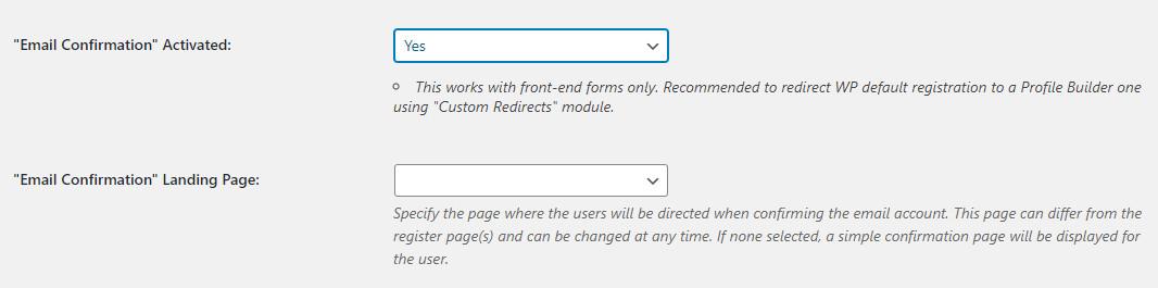 WordPress Profile Builder plugin email setup