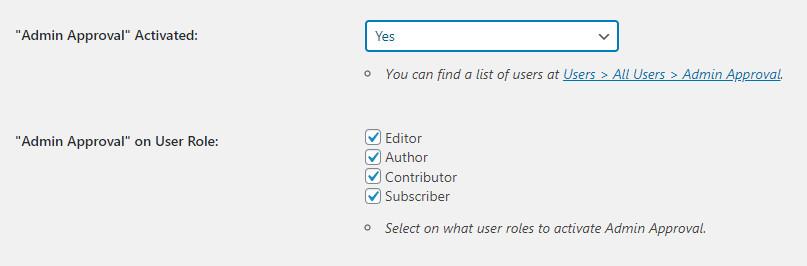 WordPress Profile Builder plugin activate admin approval