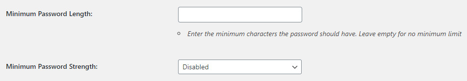 WordPress Profile Builder plugin password options