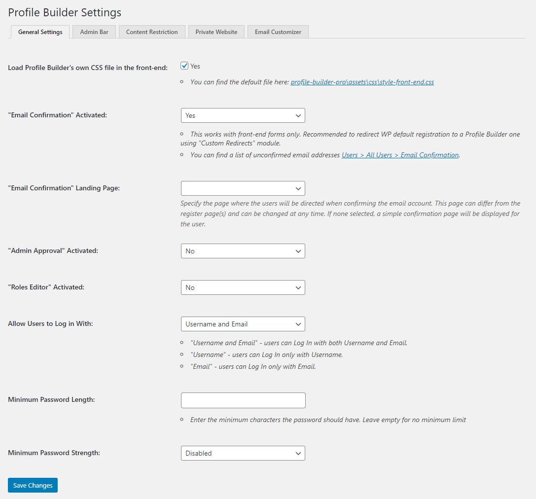 Customize WordPress emails using WordPress Profile Builder plugin settings