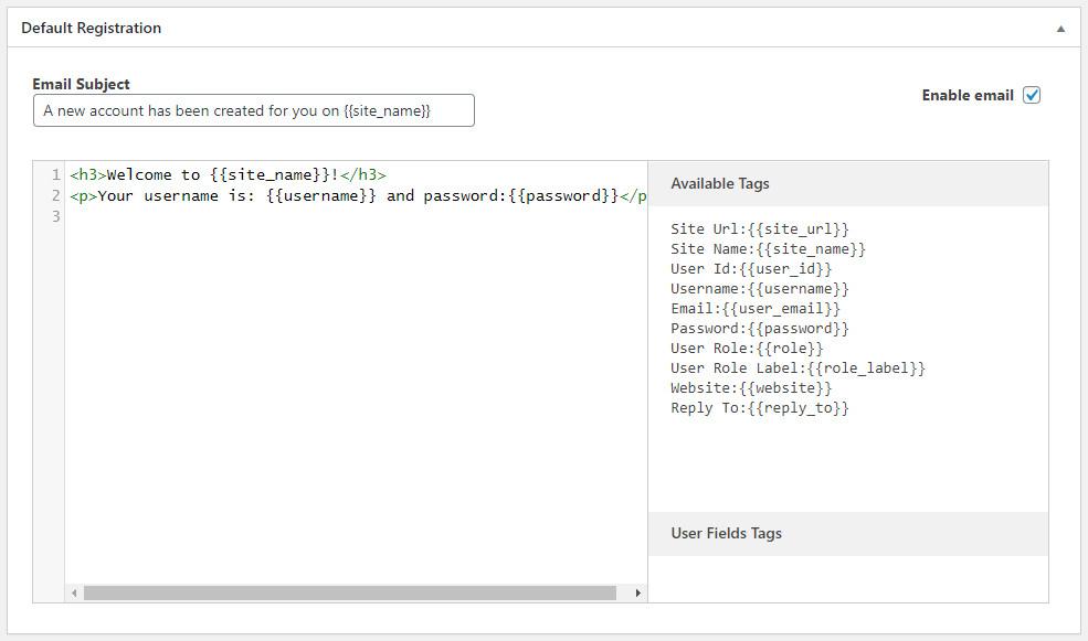 WordPress Profile Builder plugin - default registration