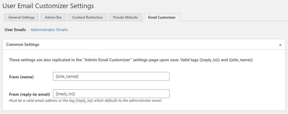 WordPress Profile Builder plugin - user email customizer settings
