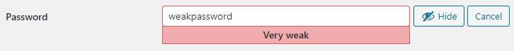 WordPress weak password warning