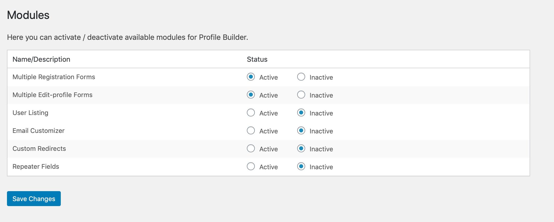 Profile Builder Pro Modules