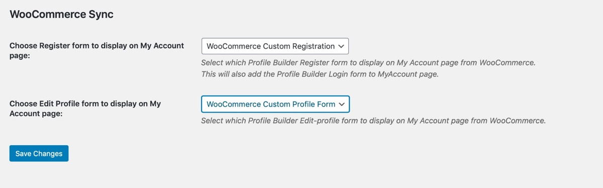 Profile Builder WooCommerce sync screen