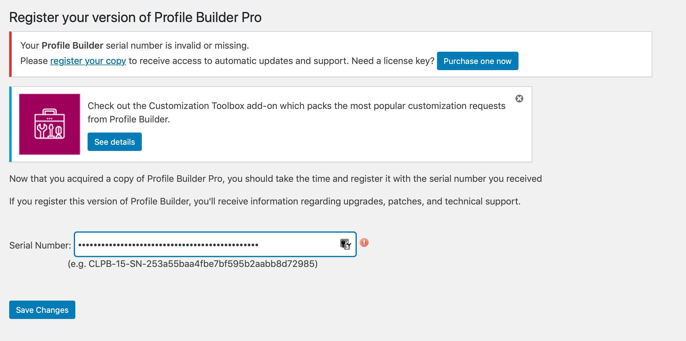 Profile Builder registration page