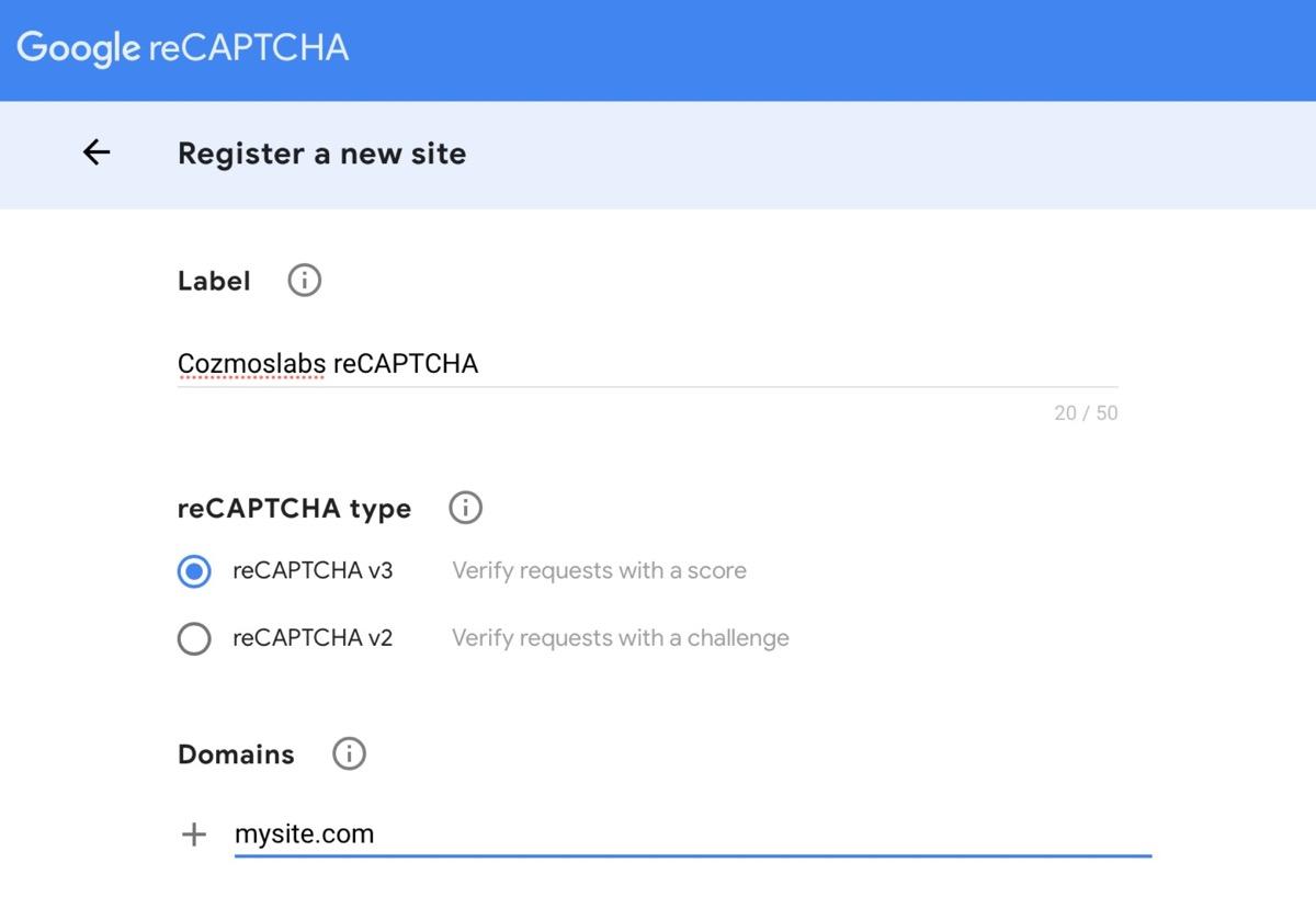 creating a reCAPTCHA key
