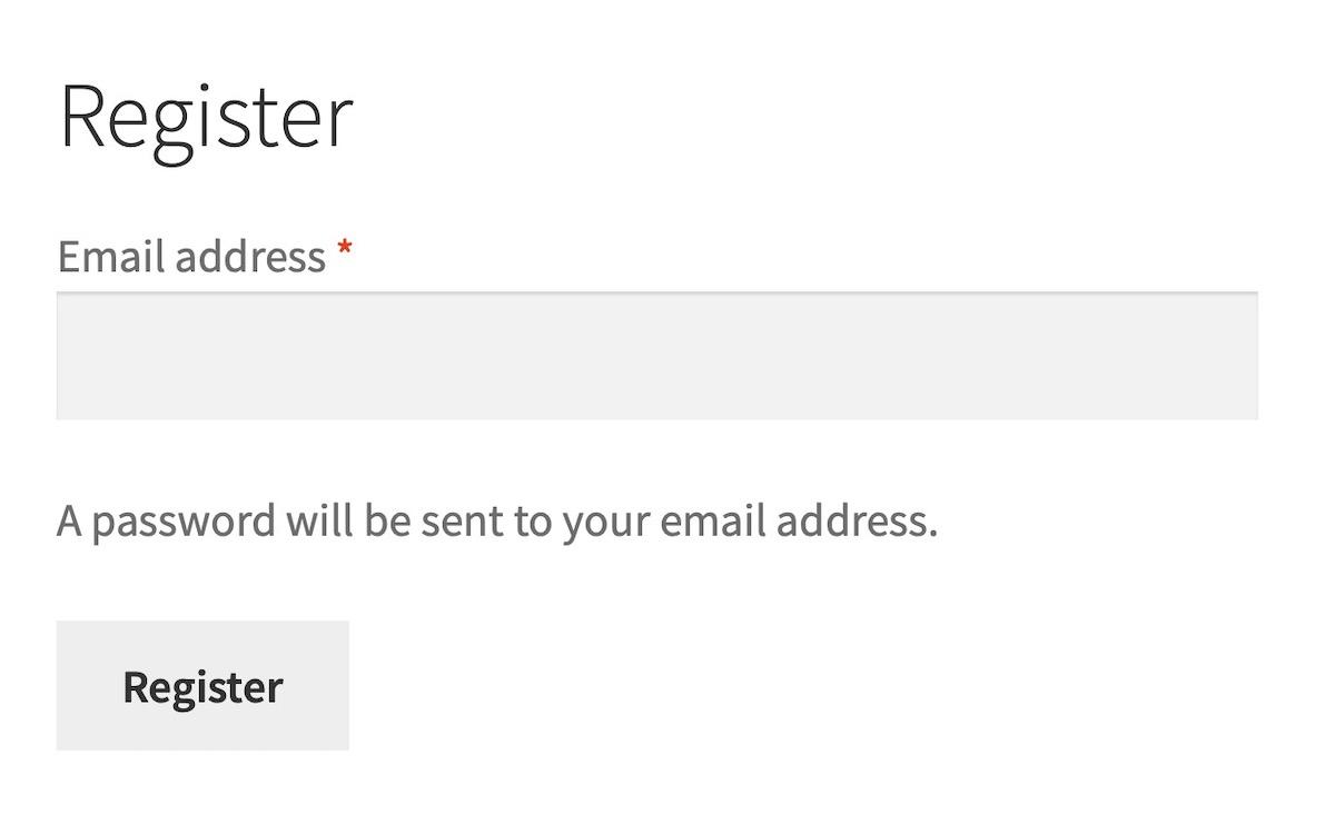 default WooCommerce registration form