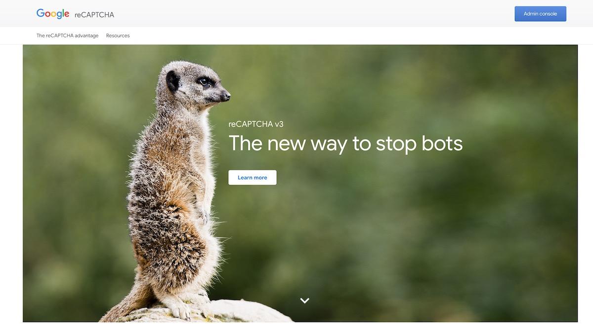 google reCAPTCHA console