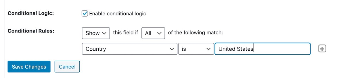 setting up conditional logic