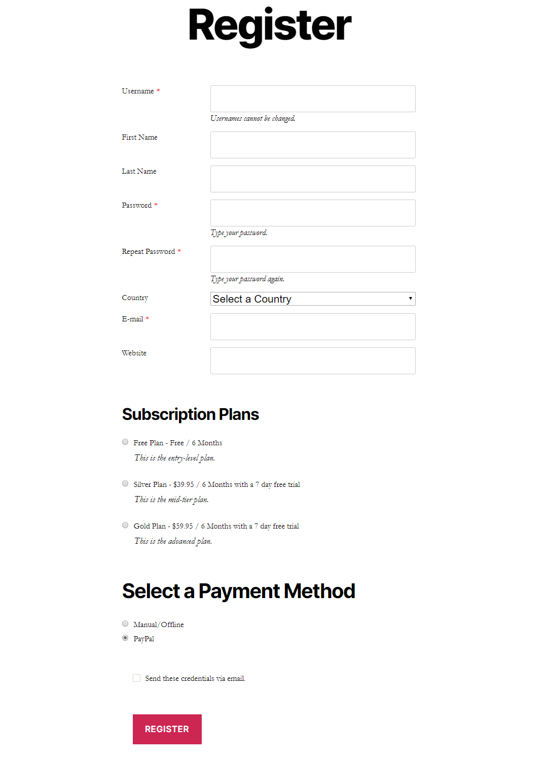 Registration form with subscription plans