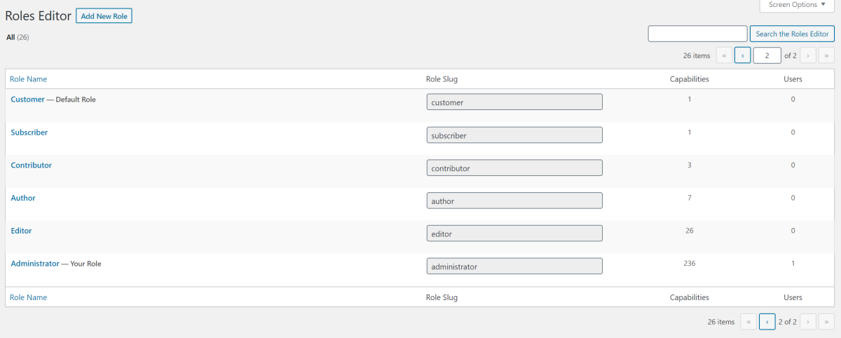 Roles Editor screen