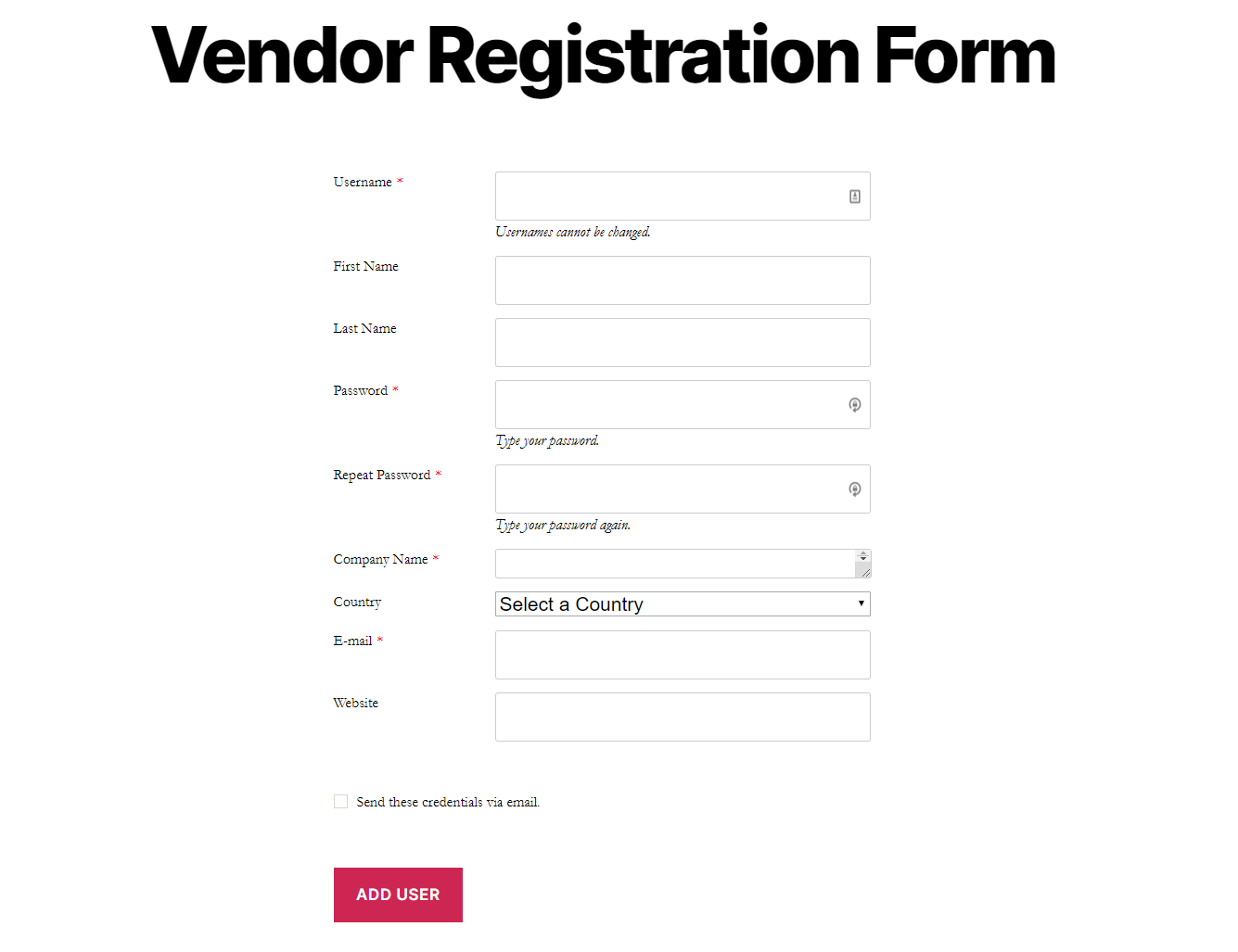 Preview of the vendor registration form