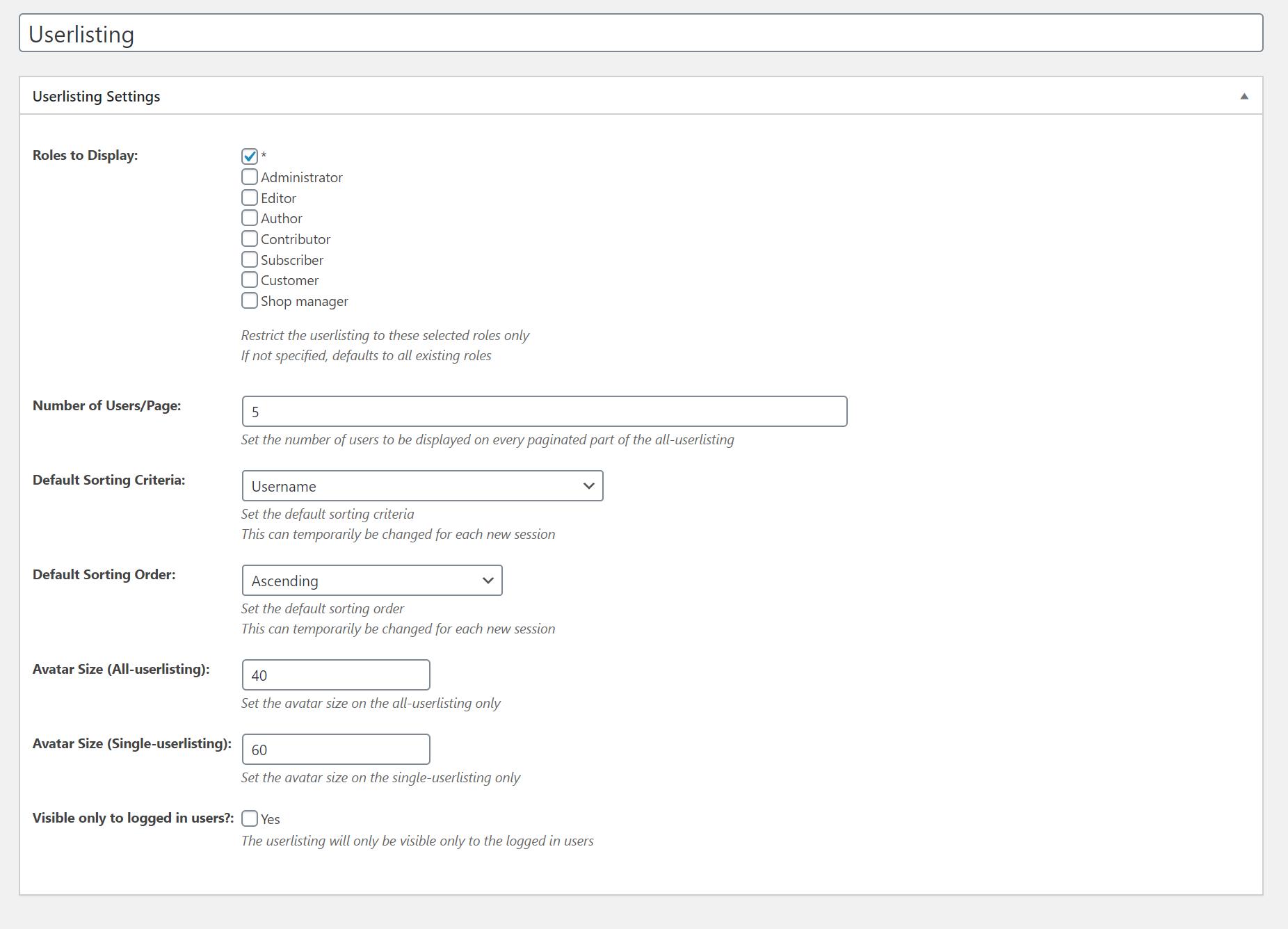 WordPress Profile Builder Pro - Userlistings