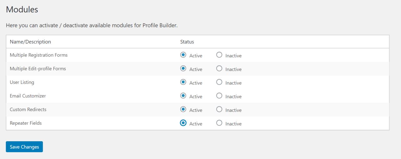 WordPress - Profile Builder Pro plugin modules