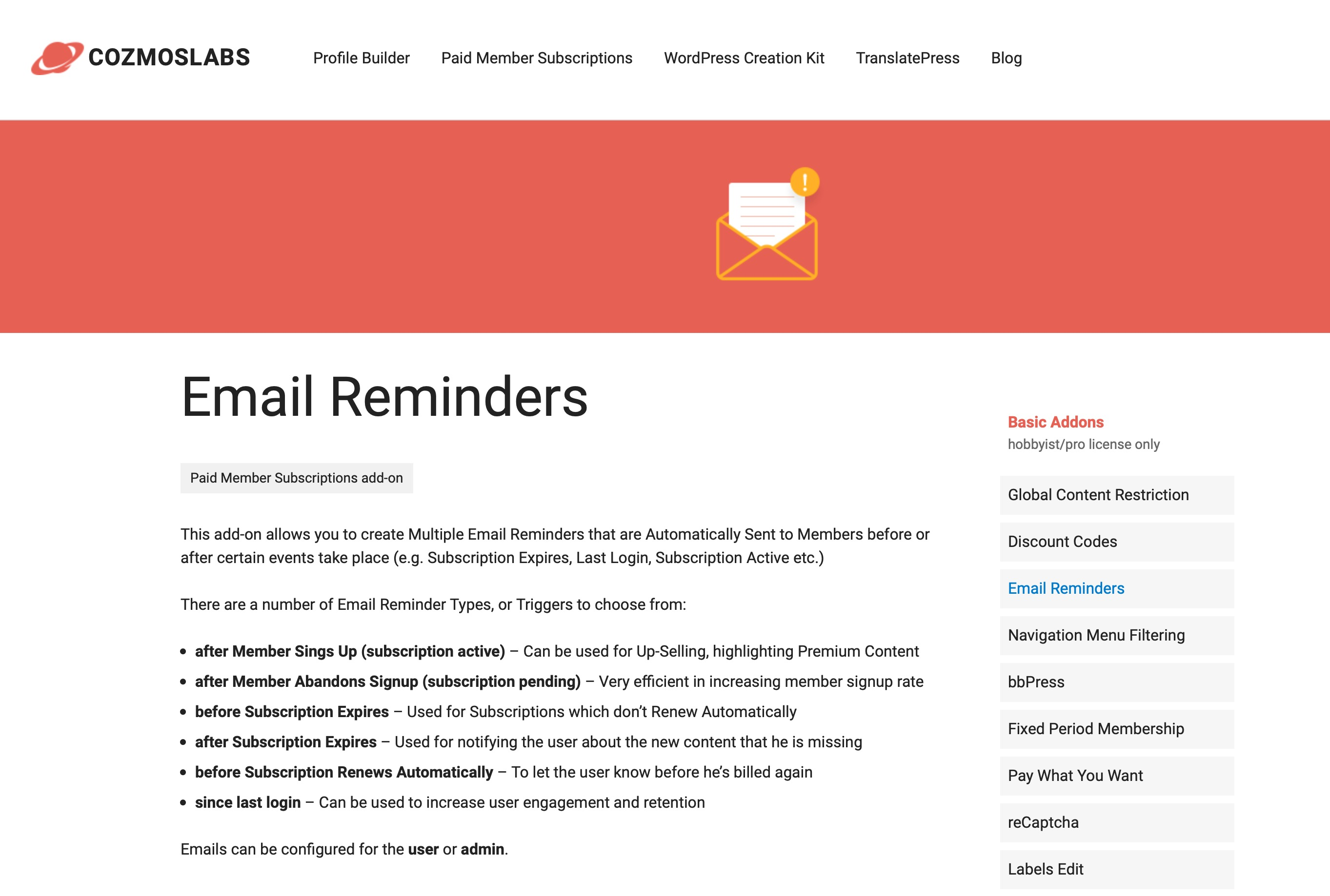 Email reminders add-on for membership site software